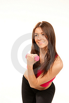 Woman Workout In Fitness Gym With Dumbbells Royalty Free Stock Photo - Image: 18403165