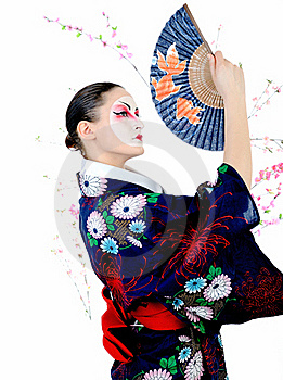 Japan Geisha Woman With Creative Make-up Stock Images - Image: 18404964