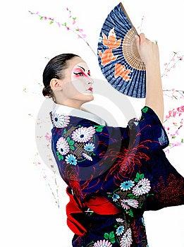 Japan Geisha Woman With Creative Make-up Stock Images - Image: 18404964