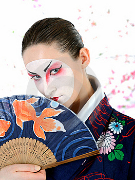 Japan Geisha Woman With Creative Make-up Stock Images - Image: 18404974