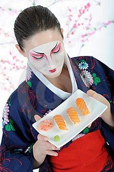 Beautiful Japan Geisha Woman With Sushi Stock Image - Image: 18405001