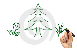 Hand Drawing Tree And Flower Icon Stock Image - Image: 18406741