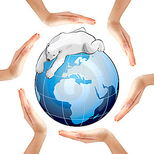 Hands Making A Circle With Earth And Polar Bear Royalty Free Stock Photography - Image: 18406777