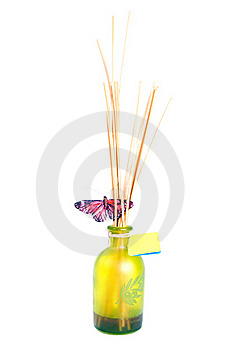 Scented Spa Bottle With Butterfly Stock Images - Image: 18411054