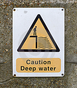Caution Deep Water Sign On Wall Royalty Free Stock Image - Image: 18415016