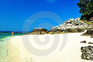 Beautiful Beach With Crystal Clear Blue Waters Stock Images - Image: 18417944