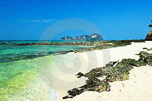 Beautiful Beach With Crystal Clear Blue Waters Of Royalty Free Stock Photography - Image: 18417957