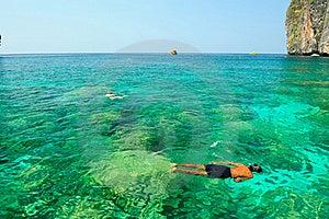 Happiness On Diving Mahya Bay (or Maya Bay) Stock Photo - Image: 18418100