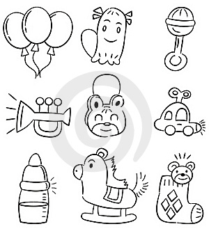 Hand Draw Cartoon Baby Product Icon Stock Images - Image: 18419114