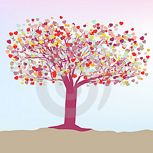 Romantic Tree With Hearts Template Card. EPS 8 Royalty Free Stock Photos - Image: 18420638