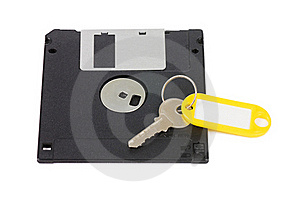 Floppy Disks And Key - Security Concept Stock Photography - Image: 18421782