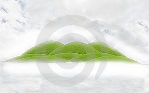 Green Hill In The Fog Royalty Free Stock Images - Image: 18425009