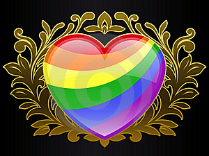 Rainbow Colour Heart With Golden Ornamental Crest Royalty Free Stock Image - Image: 18428976