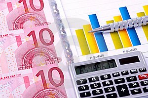 Financial Analysis With Charts. European Currency Royalty Free Stock Image - Image: 18430106