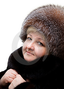 Beautiful Woman Wearing In Fur Hat And In Fur Coat Stock Photos - Image: 18434143