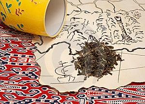 Treasure Map, Tea And A Tea Cup Stock Photos - Image: 18437513
