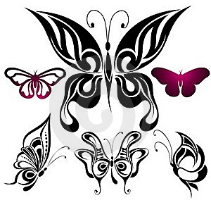 Set Of Tattoo Butterflies Royalty Free Stock Photography - Image: 18437707