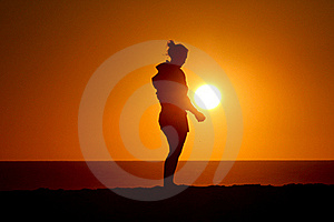 Silhouette Of Girl Standing In Sunset Royalty Free Stock Image - Image: 18439496