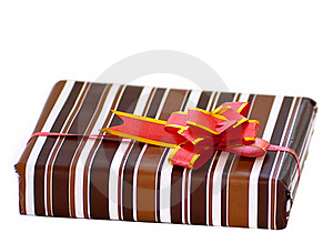 Striped Box With Ribbon Stock Photo - Image: 18439980