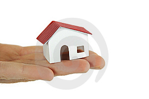 Little Paper Model Of Village House On Hand Stock Photography - Image: 18442492