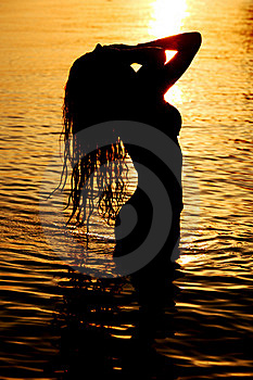 Woman In Ocean Stock Photography - Image: 18443082