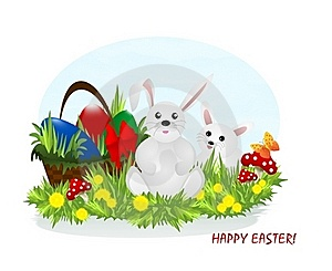 Two Bunnies And Easter Eggs, Cdr Vector Stock Photo - Image: 18443340