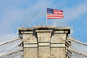 American Flag On The Top Brooklyn Bridge Royalty Free Stock Photography - Image: 18445677