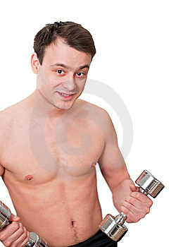 Young Man With Naked Torso With Dumbbells Stock Photo - Image: 18448270