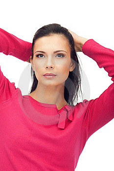 Beautiful Young Woman In Blouse Isolated Stock Photography - Image: 18448432