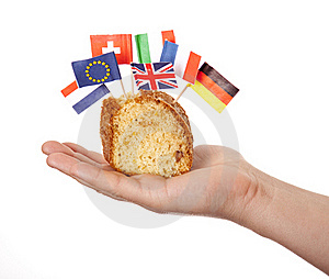 Hand Keep Cake With Some European Flags. Royalty Free Stock Photos - Image: 18449498
