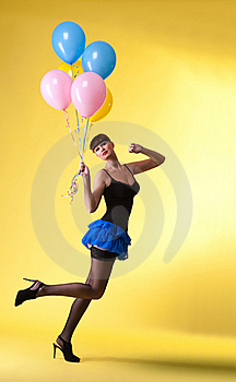 Pretty Woman With Balloons Pinup Style Royalty Free Stock Image - Image: 18450646