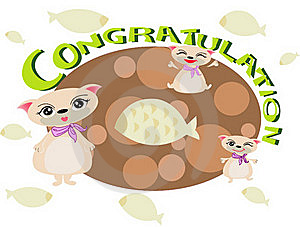 Cat Congratulation FOR U Royalty Free Stock Image - Image: 18452096