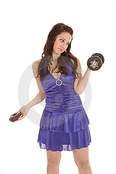 Woman Blue Dress Donut Sad Weights Stock Photos - Image: 18453213