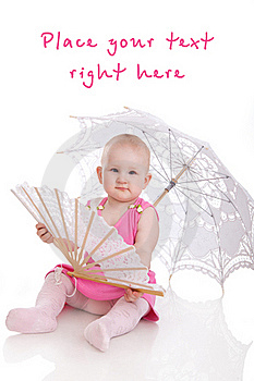 Child With Umbrella And Fan Stock Images - Image: 18453234