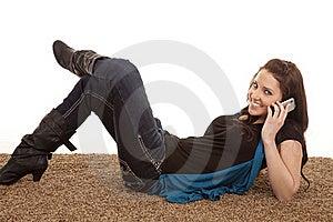Woman Phone Floor Smiling Royalty Free Stock Image - Image: 18453746