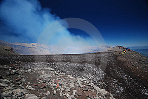 The Top Of A Smoking Active Volcano Royalty Free Stock Photography - Image: 18454287