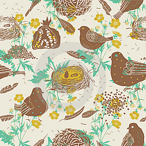 Birds And Nests. Seamless Pattern Royalty Free Stock Photo - Image: 18455335