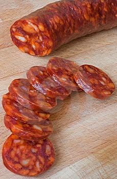 Chorizo, Slicing Sausage Stock Photos - Image: 18455653