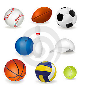Big Set Of Sport Balls And Tennis Cap. Vector Stock Photography - Image: 18456502