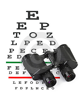 Binoculars On Eyesight Test Chart Royalty Free Stock Photography - Image: 18457417