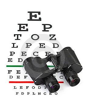 Binoculars On Eyesight Test Chart Royalty Free Stock Photography - Image: 18457417