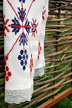 Embroidered Towel On The Fence. Royalty Free Stock Image - Image: 18457556