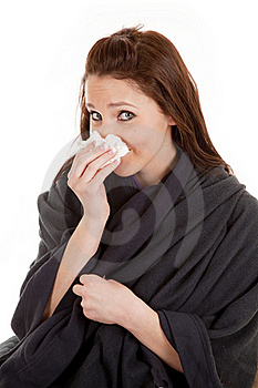 Woman In Blanket With Tissue Stock Photos - Image: 18469473