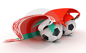 Two Soccer Balls Hold Belarus Flag Stock Photos - Image: 18470983
