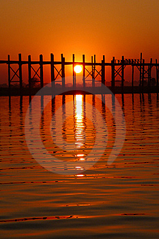 Landscape Of An Old Wooden Bridge At Sunset Stock Photography - Image: 18478172