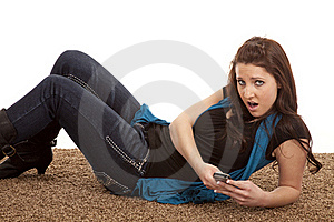 Woman Phone Floor Mouth Open Royalty Free Stock Photos - Image: 18479598