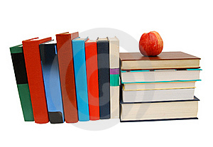 Red Apple On A Book Isolated Stock Image - Image: 18479951