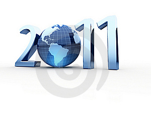 Year 2011 Made Up Of Numbers And Globe As Zero Stock Images - Image: 18480324