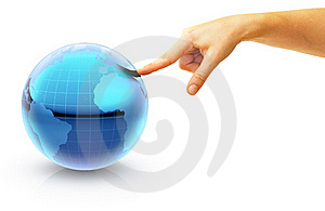 Hand Pointing On A Globe To Europe Stock Image - Image: 18480631