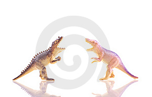 Toy Dinosaur T-Rex's Fighting Royalty Free Stock Photos - Image: 18482118